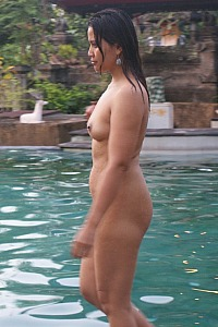 Naked on pool