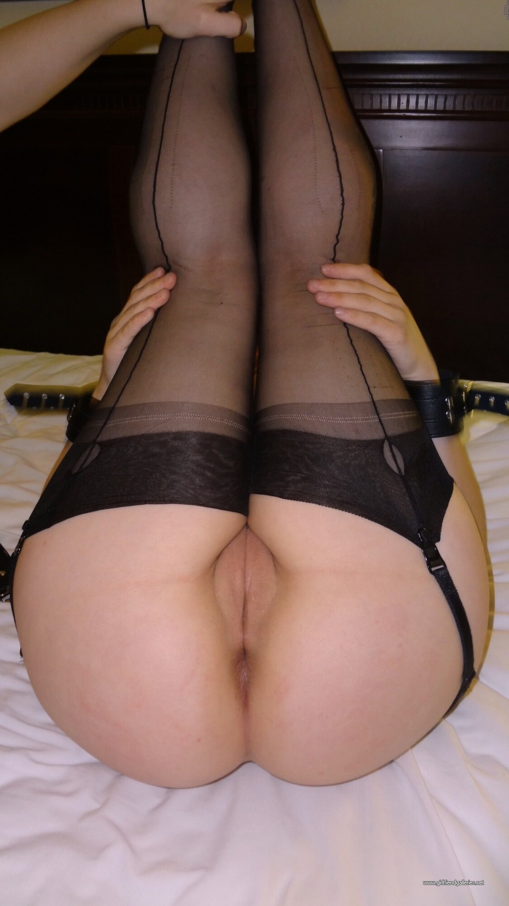 Danielle posing and fucking in black stockings