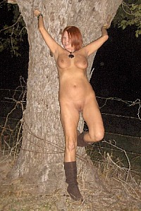 Red naked outdoors